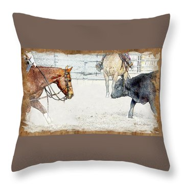 Cutting Horse At Work Throw Pillow