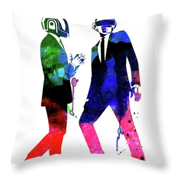 Daft Punk Watercolor Throw Pillow