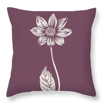 Dahlia Purple Flower Throw Pillow