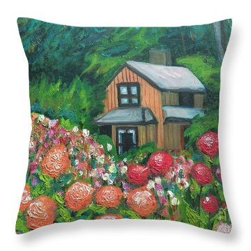 Dahlias In The Woods Throw Pillow