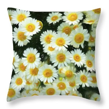 Throw Pillow featuring the digital art Daisy Crazy For You by Cindy Greenstein