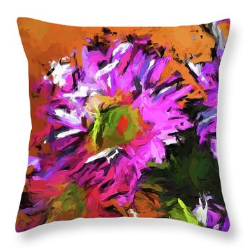 Daisy Rhapsody In Lavender And Pink Throw Pillow