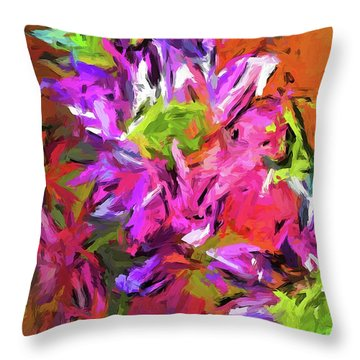 Daisy Rhapsody In Purple And Pink Throw Pillow