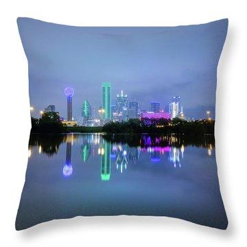 Dallas Cityscape Reflection Throw Pillow