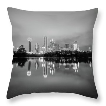 Dallas Cityscape Reflections Black And White Throw Pillow