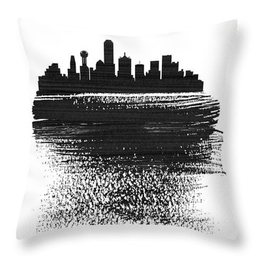 Dallas Skyline Brush Stroke Black Throw Pillow
