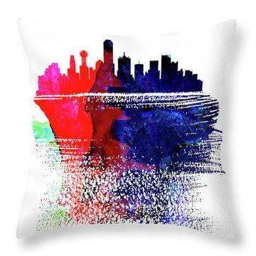 Dallas Skyline Brush Stroke Watercolor   Throw Pillow