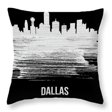 Dallas Skyline Brush Stroke White Throw Pillow