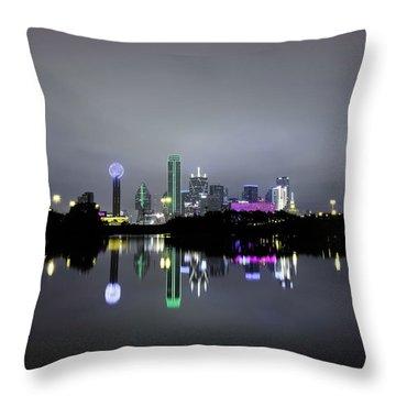 Dallas Texas Cityscape River Reflection Throw Pillow