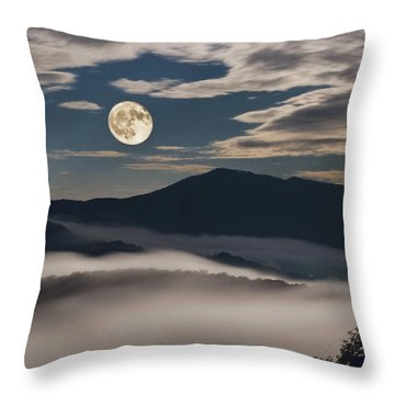 Dance Of Clouds And Moon Throw Pillow