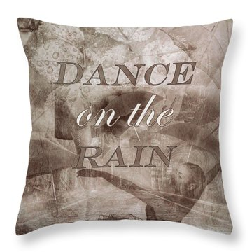 Dance On The Rain In Sepia Tones Throw Pillow