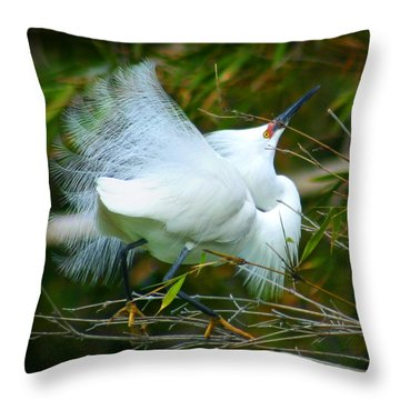 Dancing Egret Throw Pillow