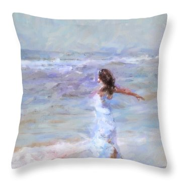 Dancing On The Sand Throw Pillow