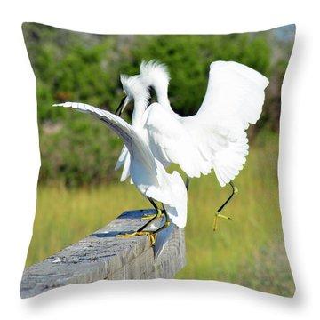 Dancing Snowy Egrets Throw Pillow