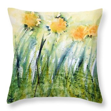 Dandelions In The Grass Throw Pillow