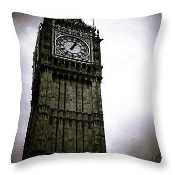 Dark Big Ben Throw Pillow