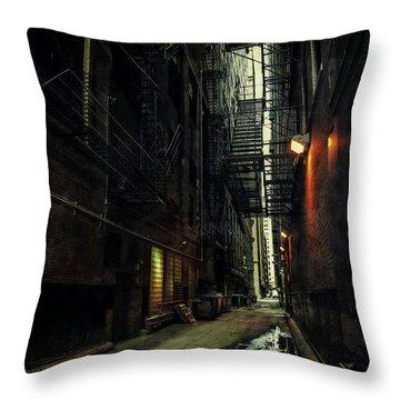 Dark Chicago Alley Throw Pillow