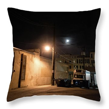 Dark Chicago City Alley At Night With The Moon Throw Pillow