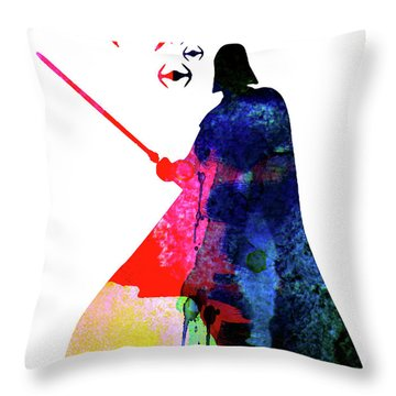 Darth Fighting Watercolor 1 Throw Pillow