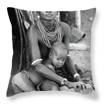 Dassanech Mother And Child Throw Pillow
