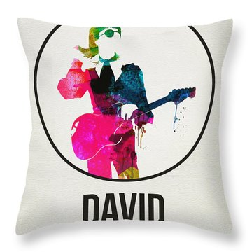 David Bowie Watercolor Throw Pillow