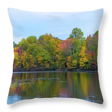 Throw Pillow featuring the photograph Davidson's Mill Pond Autumn Panorama  by Michael Ver Sprill