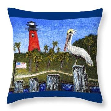 Aceo Dawn At Jupiter Inlet Lighthouse Florida 52a Throw Pillow