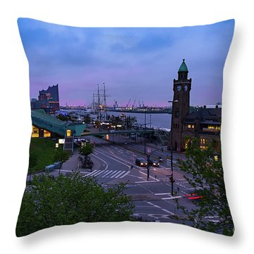 Dawn Over The Port And City Hamburg Panorama Throw Pillow