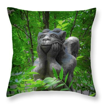 Daydreaming Gargoyle Throw Pillow