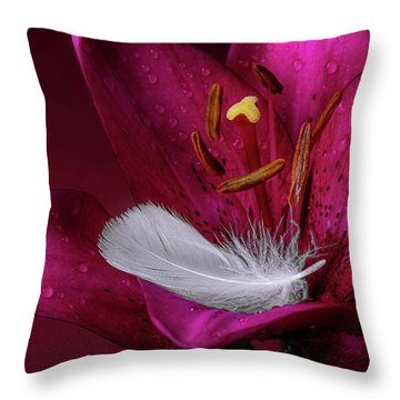 Daylily With Feather Throw Pillow