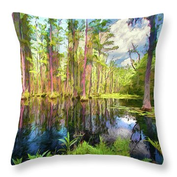 Dazzling Cypress Reflections Ap Throw Pillow