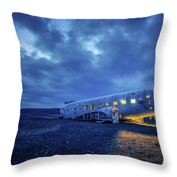 Dc-3 Plane Wreck Illuminated Night Iceland Throw Pillow
