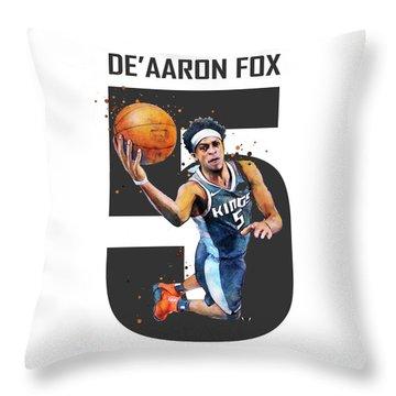 De Aaron Fox, Sacramento Kings, Nba Throw Pillow