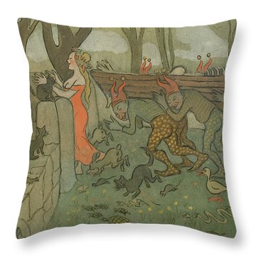 Throw Pillow featuring the drawing Death Of Death by Ivar Arosenius