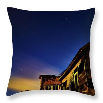 Decaying House In The Moonlight Throw Pillow