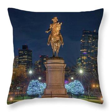 December Evening In Boston's Public Garden Throw Pillow