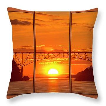Deception Pass Sunset Panels Throw Pillow