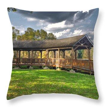 Deck At Pickerington Ponds Throw Pillow