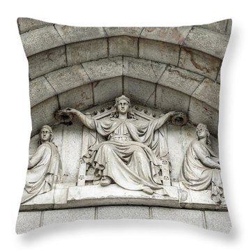 Throw Pillow featuring the photograph Decorated Sculpture On Plymouth Guildhall Building by Jacek Wojnarowski