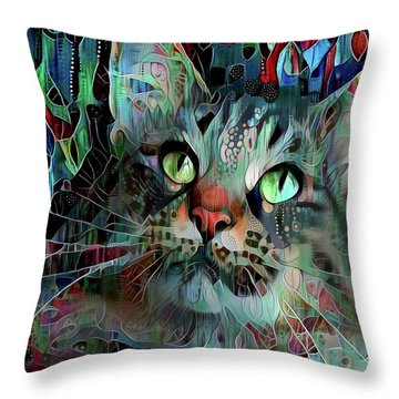 Deedee In Blue And Red Throw Pillow