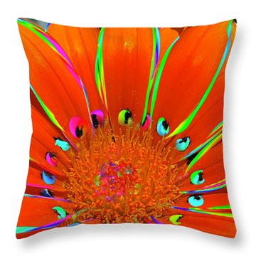 Throw Pillow featuring the digital art Deep Coral Bloom  by Cindy Greenstein