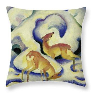 Deer In The Snow, 1911 Throw Pillow