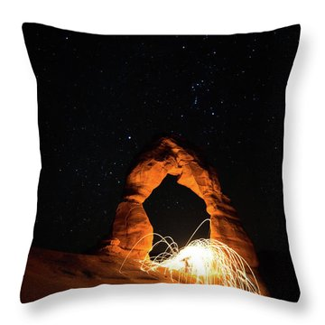 Delicate Arch Steel Wool Throw Pillow