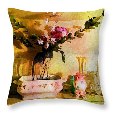 Throw Pillow featuring the painting Delicate Flowers by Joan Reese