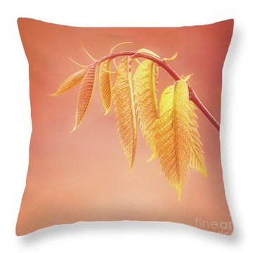 Delightful Baby Chestnut Leaves Throw Pillow