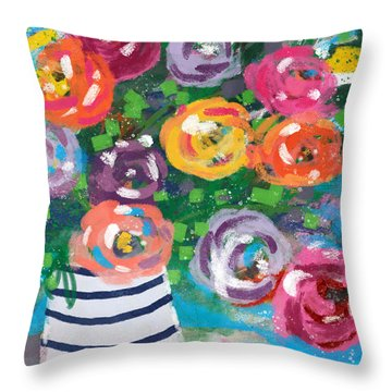 Delightful Bouquet 6- Art By Linda Woods Throw Pillow