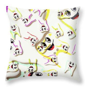 Dental Clinic Caricatures Throw Pillow