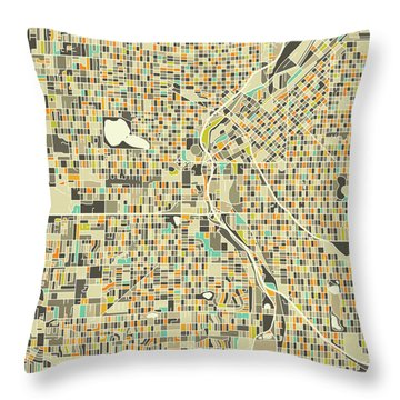 Denver Map 1 Throw Pillow