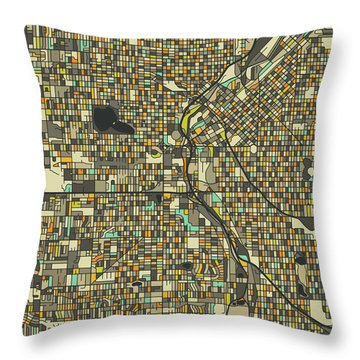 Denver Map 2 Throw Pillow