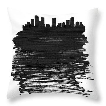 Denver Skyline Brush Stroke Black Throw Pillow